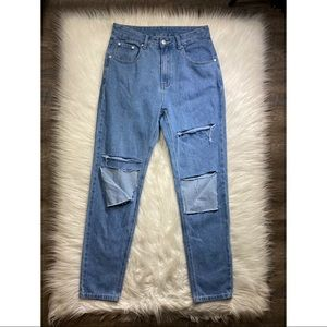 Shein blue distressed high waisted jeans medium